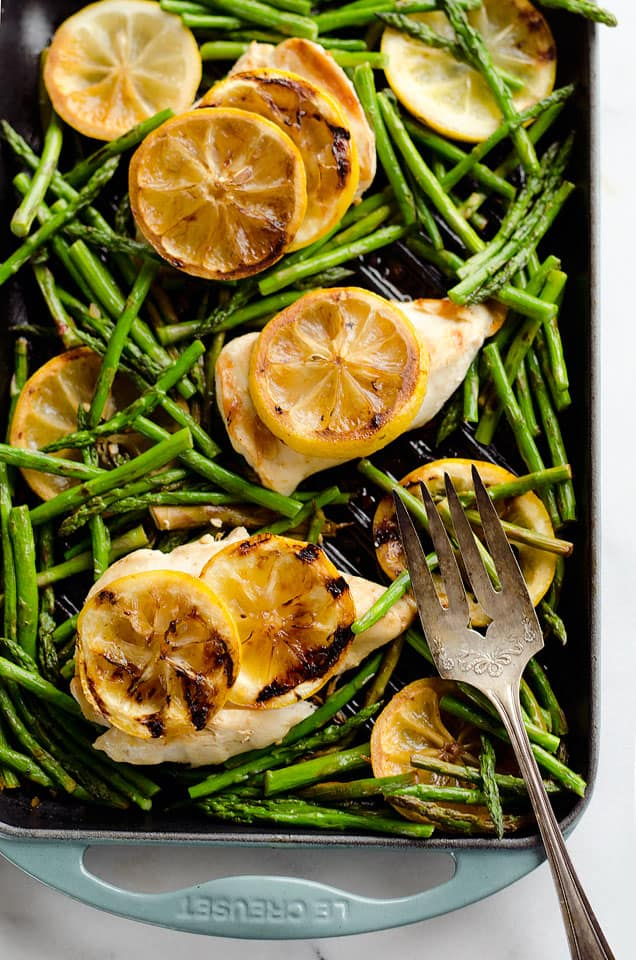 Grilled Lemon Chicken Skillet is a one-pan dish with only 5 ingredients, including lean chicken breasts, lemons and asparagus, for an easy and healthy weeknight dinner bursting with fresh flavors!