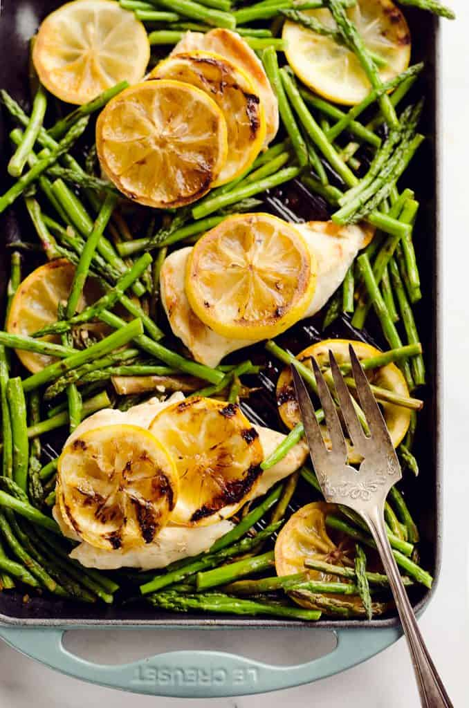 Grilled Lemon Chicken Skillet on table
