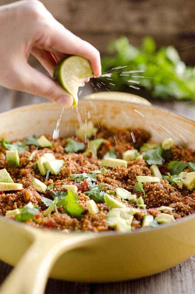 Light Taco Quinoa Skillet is a one pot dish with fresh flavors that makes an easy and healthy dinner!