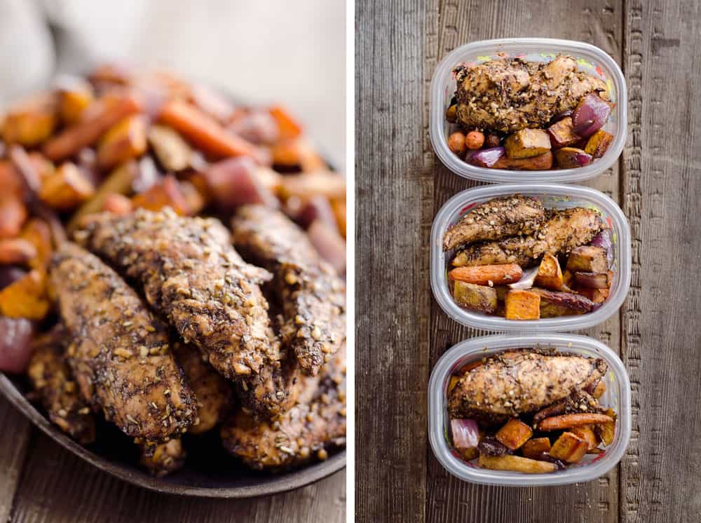 Balsamic Chicken is an easy and simple dinner idea. These flavorful and juicy chicken breasts pair perfectly with roasted vegetables for a healthy and delicious meal.