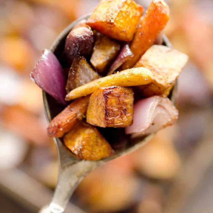 Balsamic Dijon Roasted Root Vegetables is an easy and healthy side dish bursting with tangy balsamic flavor and loaded with hearty root vegetables.