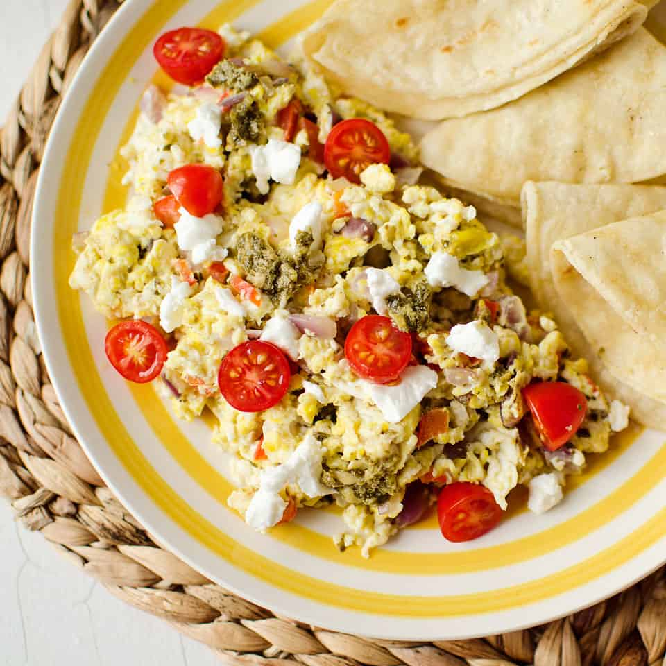 Goat Cheese & Pesto Veggie Scramble - The Creative Bite