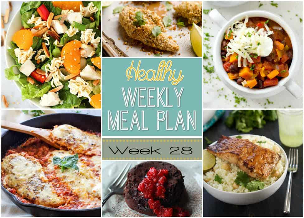A delicious mix of healthy entrees, snacks and sides make up this Healthy Weekly Meal Plan #28 for an easy week of nutritious meals your family will love! #Healthy #MealPlan