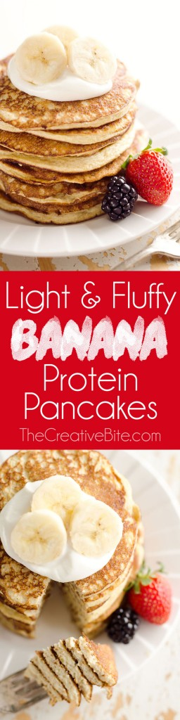Light & Fluffy Banana Protein Pancakes are a healthy breakfast with five simple ingredients that taste amazing and leave you feeling satisfied!