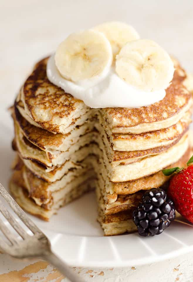 Light & Fluffy Banana Protein Pancakes are a healthy breakfast with ...