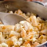 One-Pot Creamy Buffalo Chicken Pasta is a quick and easy weeknight dinner with rich creamy pasta, spicy buffalo sauce and tender chicken.