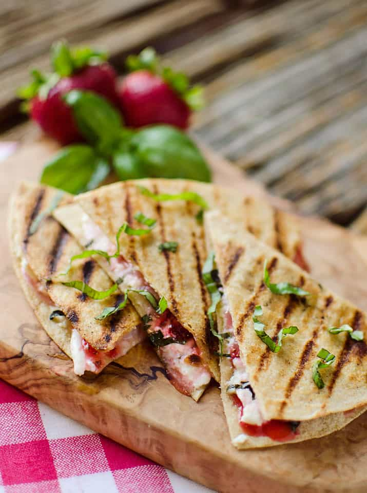 Strawberry Basil & Honey Goat Cheese Quesadillas - The Creative Bite