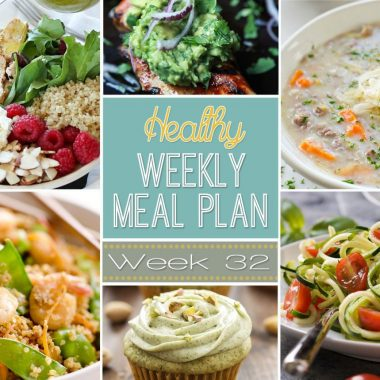 A delicious mix of healthy entrees, snacks and sides make up this Healthy Weekly Meal Plan #32 for an easy week of nutritious meals your family will love!