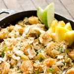 Light Coconut Shrimp & Pineapple Quinoa Skillet is a tropical dinner idea loaded with healthy ingredients. Quinoa, shrimp, pineapple and unsweetened coconut make up this flavorful and delicious dish for a healthy meal everyone will love.