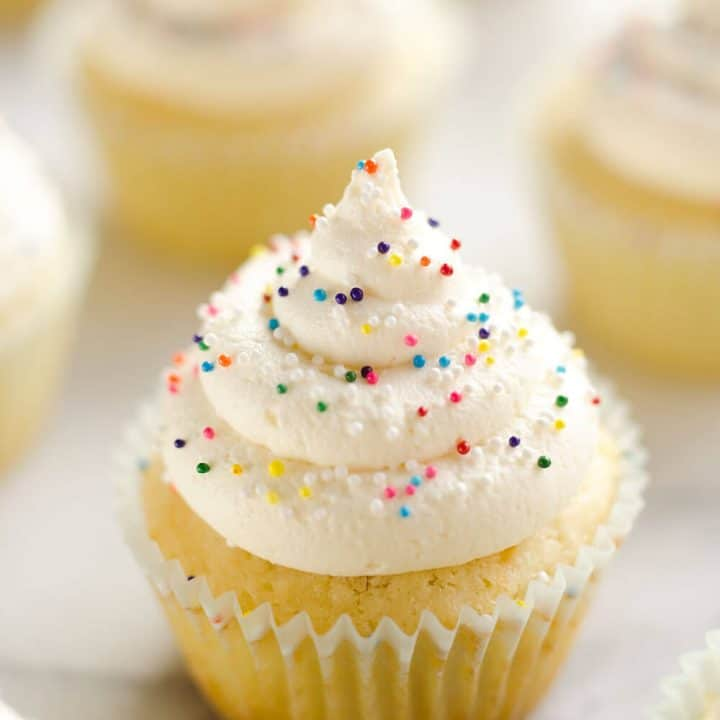 Best Birthday Cupcakes on white marble table