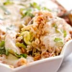 Light Turkey Noodle Casserole is a hearty and healthy dinner idea the whole family will love! All of the traditional flavors of noodle casserole are lightened up with whole wheat spaghetti, zucchini noodles and lean ground turkey.