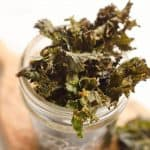 Spicy Kale Chips are beautifully crisp and loaded with bold chipotle flavor for a healthy snack. They are perfect for the munchies or paired with your favorite sandwich on the side!