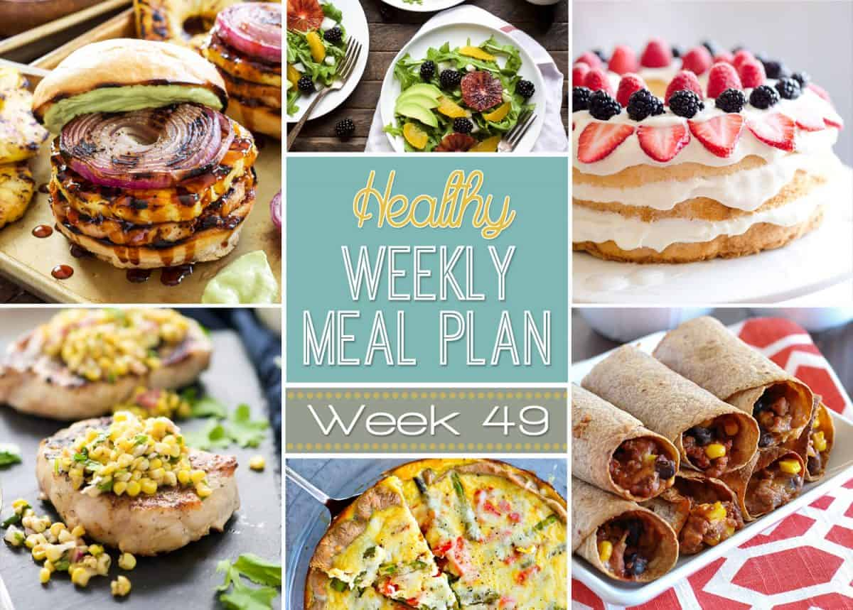 Healthy Meal Plan Week 49 is filled grilled party food galore! With 4th of July Monday, we have a delicious spread fit for every BBQ! Southwestern Taco Dip, Teriyaki Turkey Burgers, and a Berry Angel Food Cake!