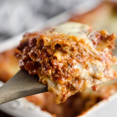 This Lasagna Recipe from my grandmother is a hearty casserole that is a classic dinner everyone will love! Ground beef and pork are layered with cheese and pasta for a comforting dinner idea perfect for a family gathering or holiday. After you have satisfied everyone's appetites with this amazing dish, clean up with all-natural Evolve dish soap for a clean and sparkling kitchen!