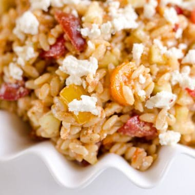 Sundried Tomato Feta Orzo Salad is an easy and unique pasta salad that makes a great side dish for any holiday meal!