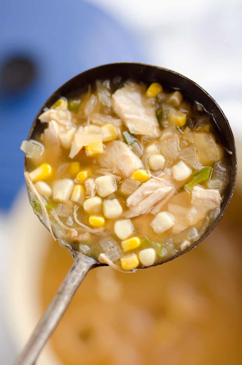 Spicy Turkey & Sweet Corn Soup is the perfect recipe to use up your holiday leftovers for a light and healthy meal ready in just 15 minutes!