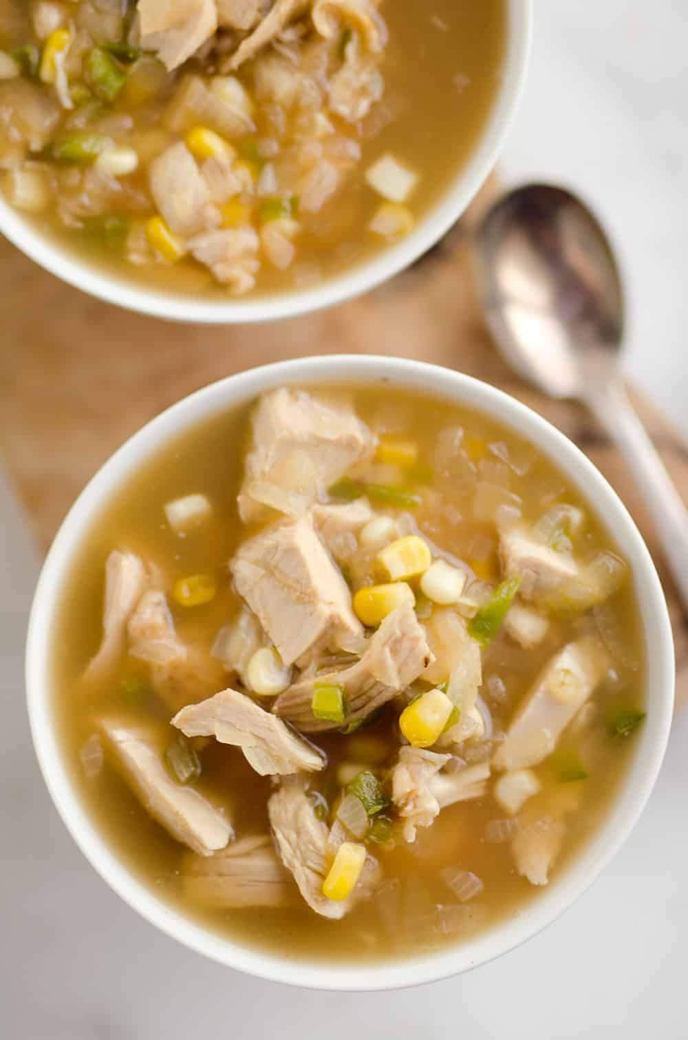 Spicy Turkey & Sweet Corn Soup is the perfect way to use up your holiday leftovers for a light and delicious meal!