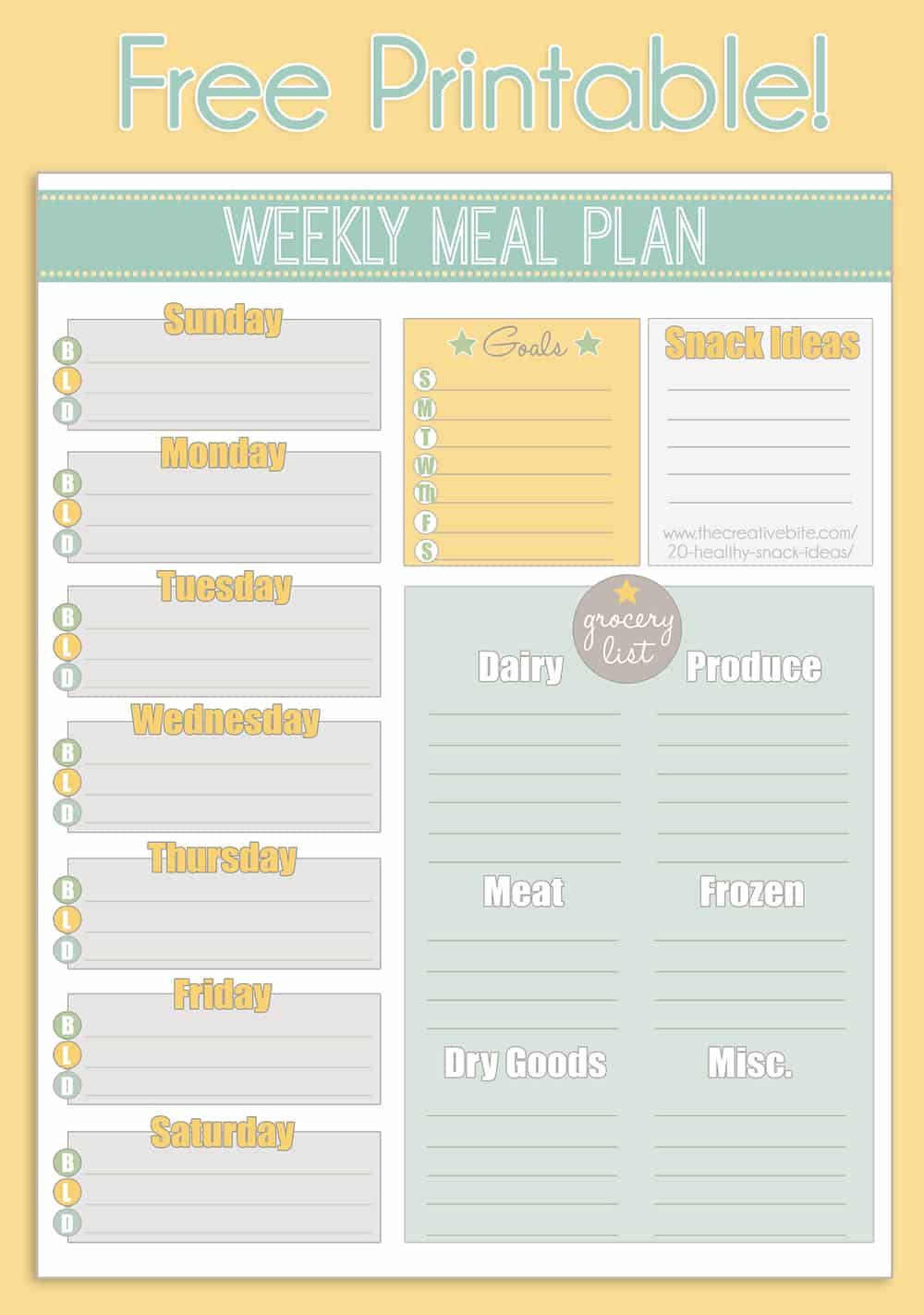 picture relating to Printable Meal Planner named Totally free Printable Weekly Evening meal Planner + Calendar