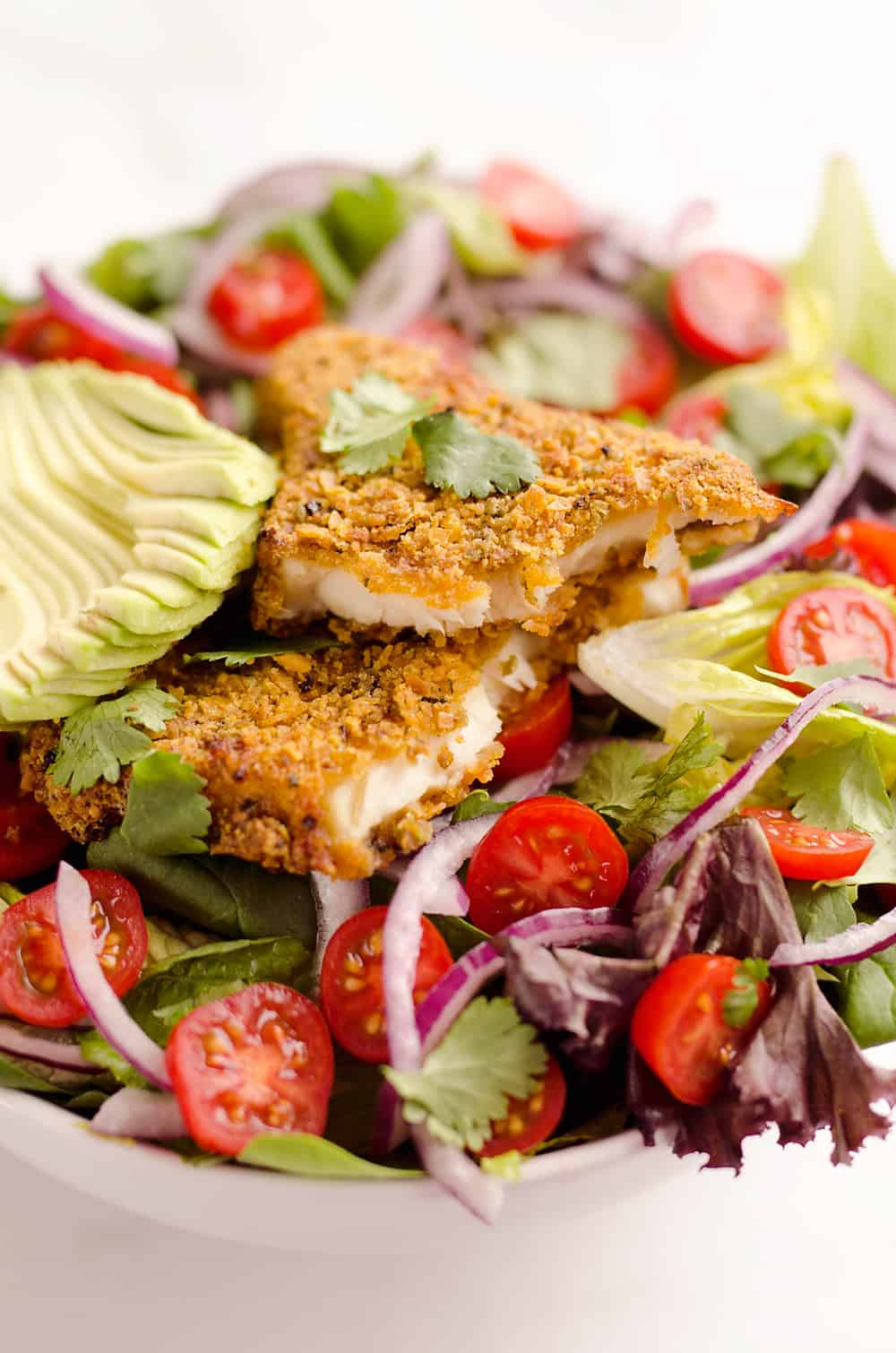 Southwest Tortilla Crusted Tilapia Salad is an easy and healthy dinner idea with a bed of mixed greens topped with tomatoes, avocado, red onion, Tortilla Crusted Tilapia and a homemade Chipotle Lime Dressing.