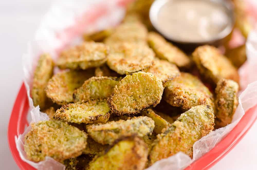 Airfryer Parmesan Dill Fried Pickle Chips are a quick and easy appetizer made extra crunchy in your Airfryer without all the fat from oil. This low-fat snack is sure to satisfy your craving for something salty!