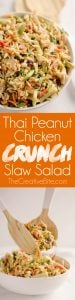 Thai Peanut Chicken Crunch Slaw Salad is an easy & healthy cold salad that is loaded with fresh flavor and crunch! Coleslaw and broccoli slaw are tossed with cucumbers, carrots, bell peppers and chicken and dressed with a homemade Thai Peanut Sauce for a hearty serving of vegetables in a salad you will love.