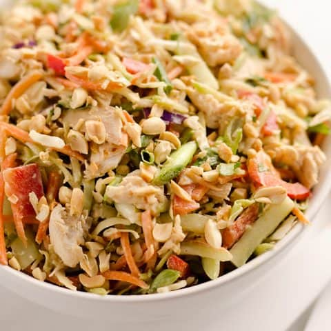 Thai Peanut Chicken Crunch Slaw Salad