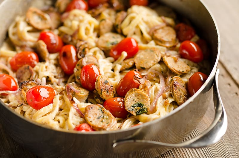 Chicken Sausage Fettuccine Alfredo serving