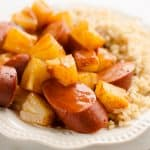Crock Pot BBQ Turkey Kielbasa & Pineapple plate