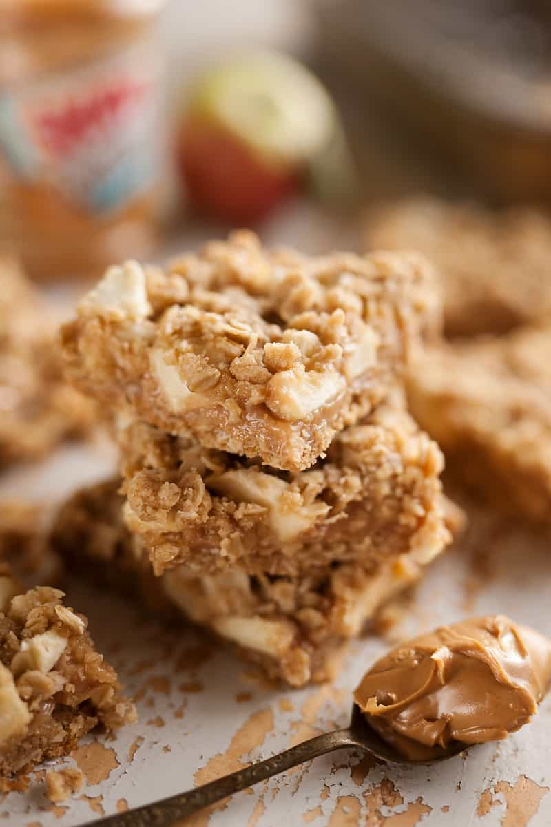 Stack of Peanut Butter Apple Oatmeal Bars