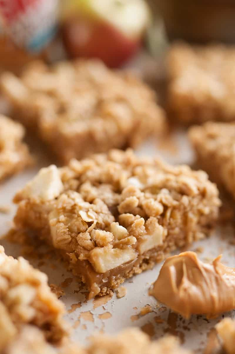 Peanut Butter Apple Oatmeal Bars Close up