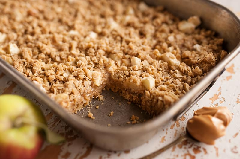 Pan of Peanut Butter Apple Oatmeal Bars