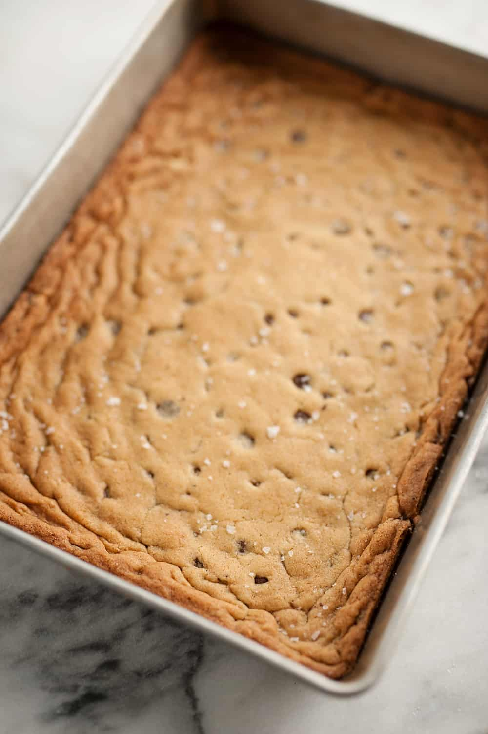 Salted Chocolate Chip Cookie Bars sheet