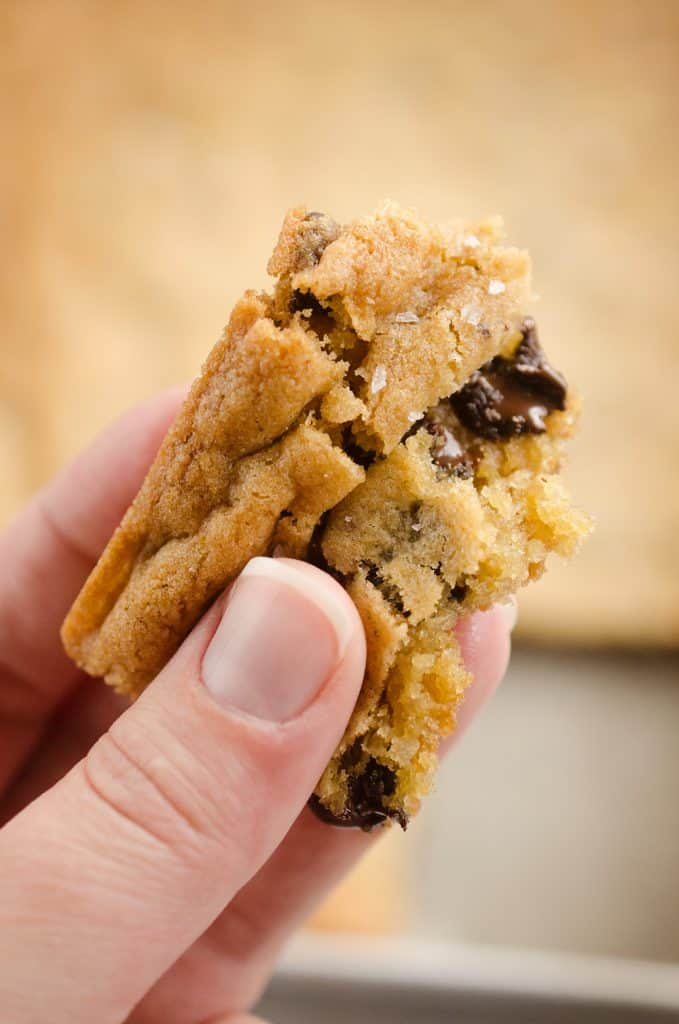 Salted Chocolate Chip Cookie Bars bite