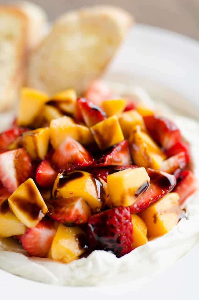 Whipped Honey Goat Cheese Dip with Balsamic Fruit