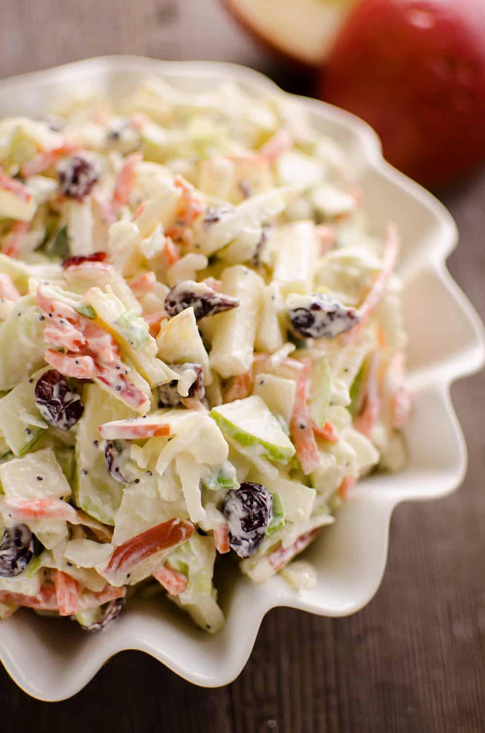 Apple Cranberry Poppy Seed Slaw Salad bowl