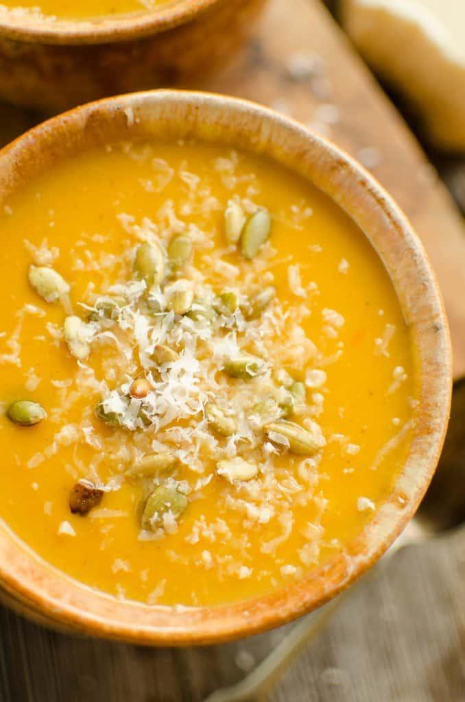 Pressure Cooker Creamy Butternut Squash Soup - Instant Pot with Parmesan
