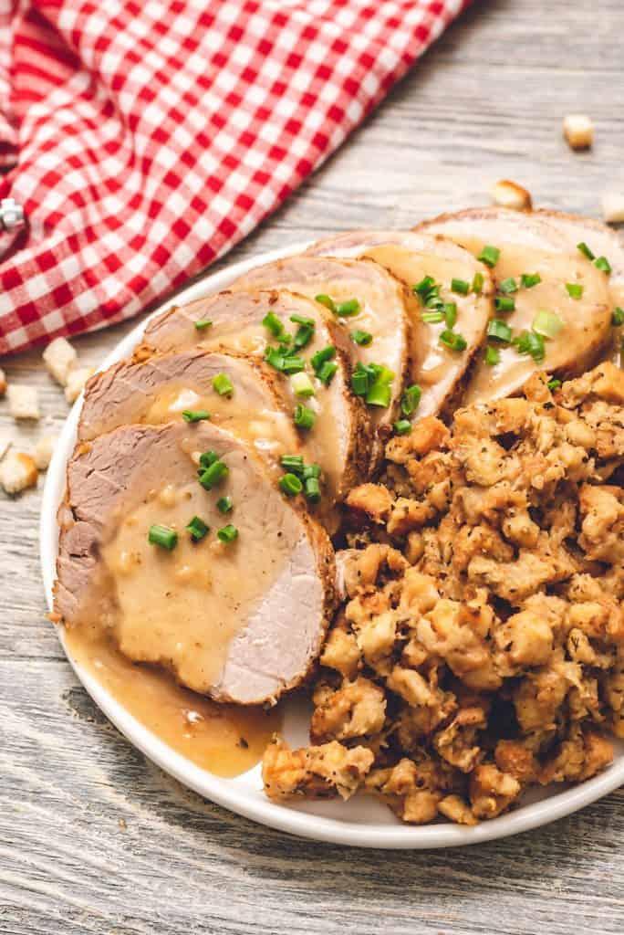 Pressure Cooker Pork Loin, Stuffing & Gravy on plate