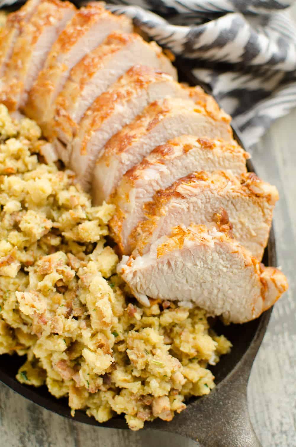 Pressure Cooker Pork Loin, Stuffing & Gravy serving