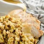 Pressure Cooker Pork Loin, Stuffing & Gravy pouring