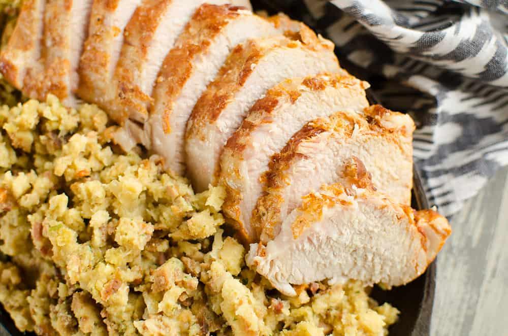 Pressure Cooker Pork Loin, Stuffing & Gravy