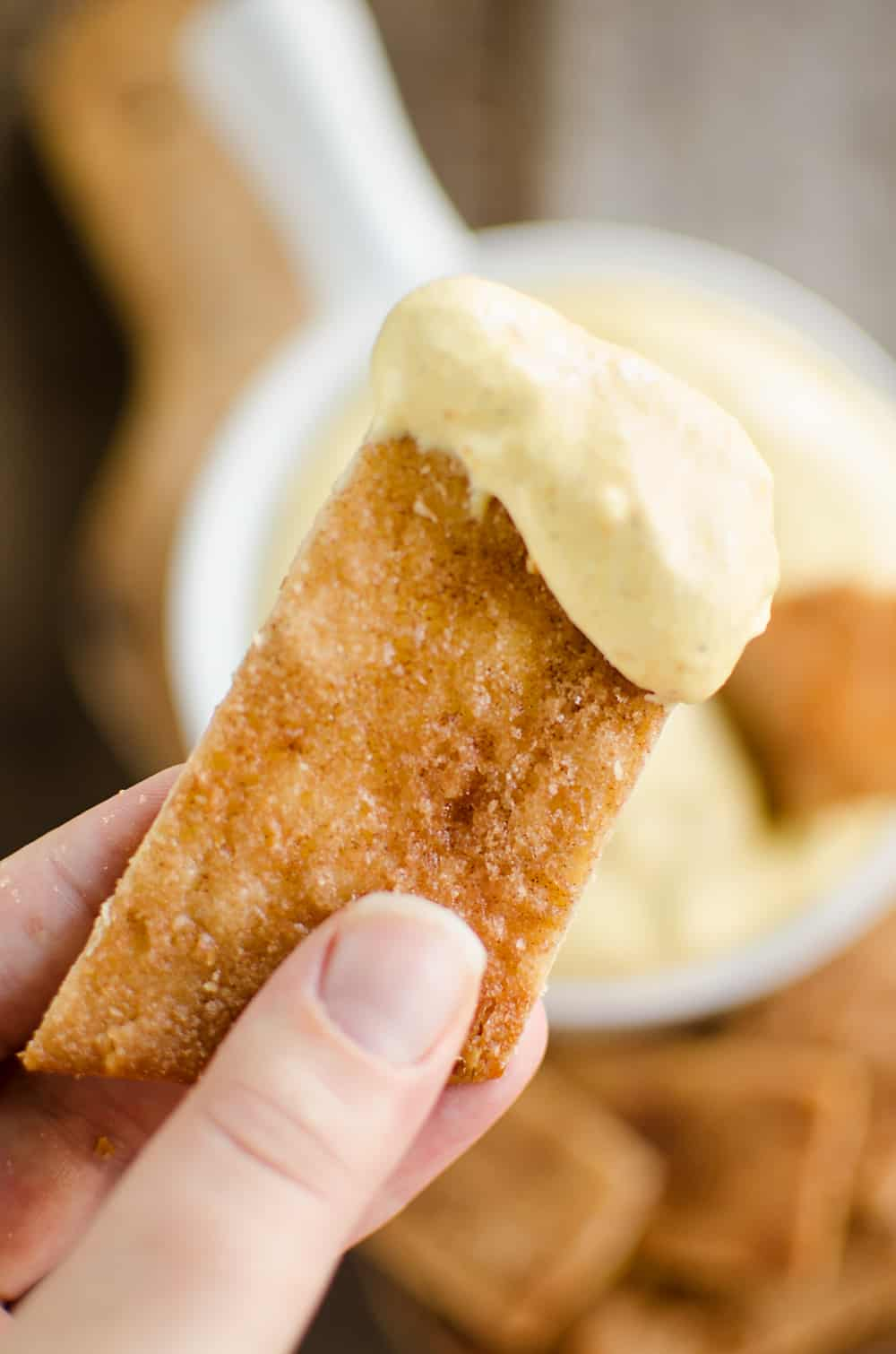Pumpkin Mousse Dip with Pie Crust Dippers Dipping