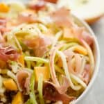 Spiralized Apple, Cheddar & Prosciutto Salad serving