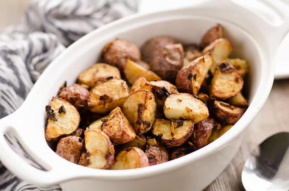 Airfryer Crispy Roasted Onion Potatoes in bowl