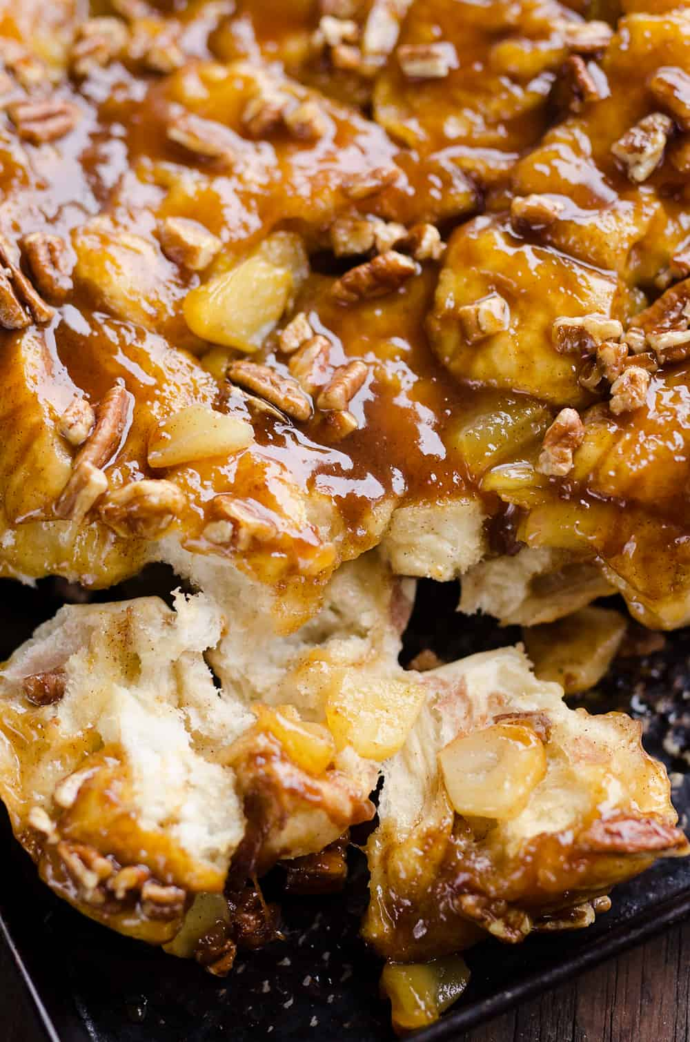 Caramel Apple Pecan Monkey Bread pull apart