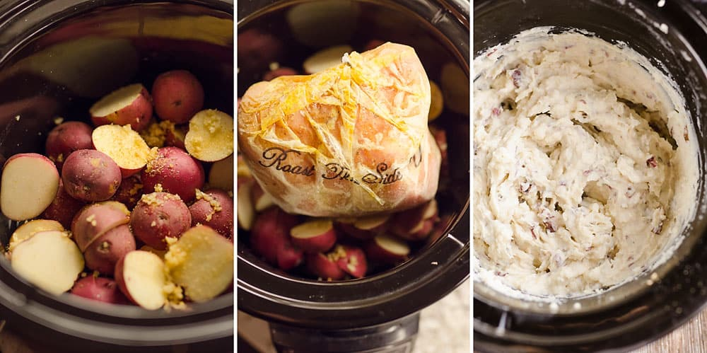 Crock Pot Turkey & Garlic Mashed Potatoes in slow cooker
