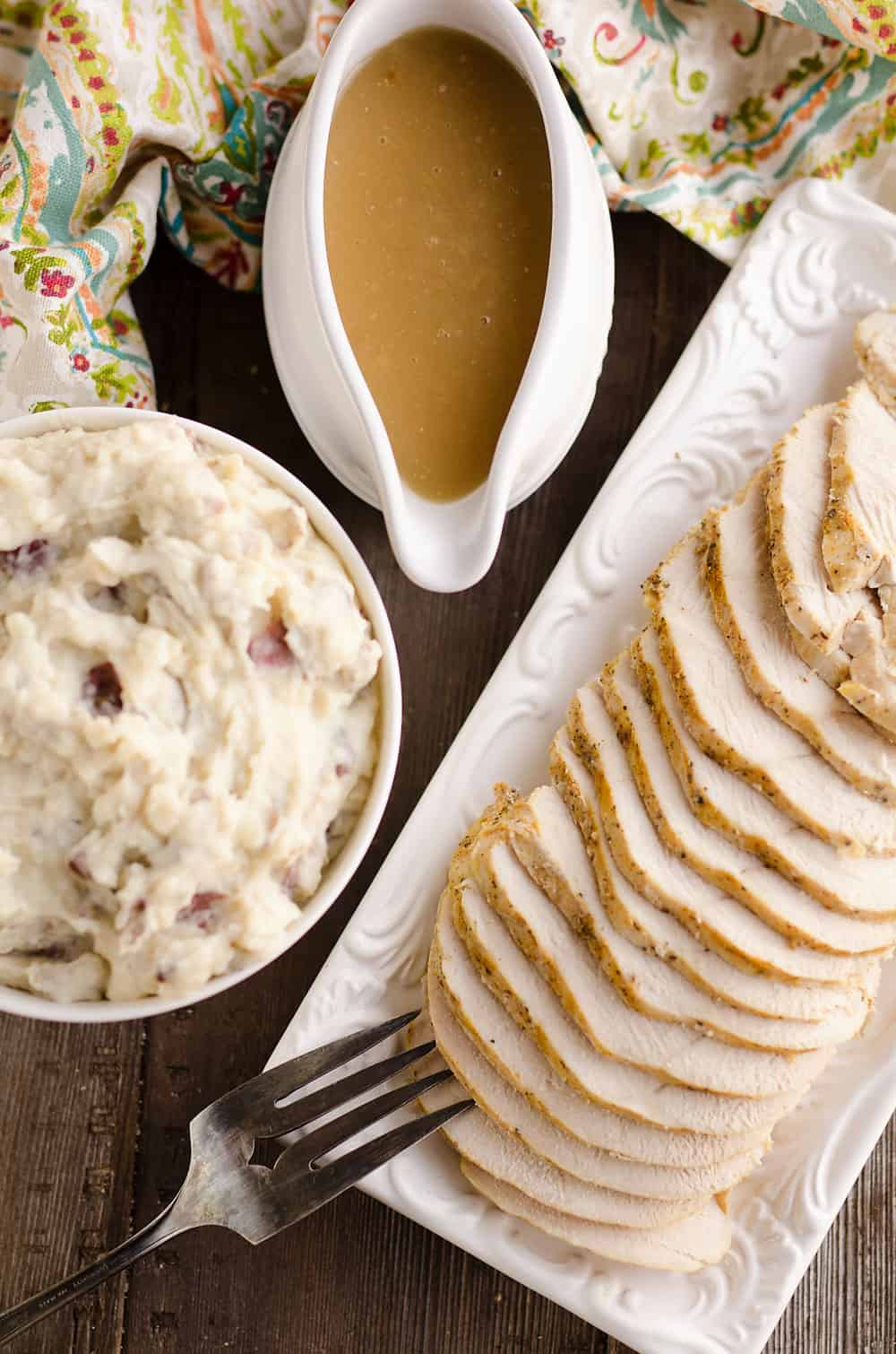 Crock Pot Turkey & Garlic Mashed Potatoes dinner service
