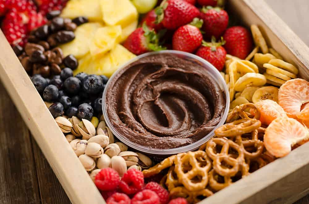 Healthy Fruit & Chocolate Party Tray close up