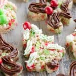 Holiday Rice Krispie Treats decorated with Pillsbury frosting