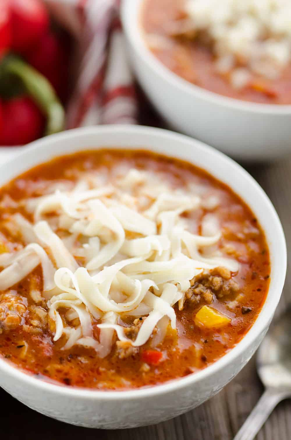 Pressure Cooker Stuffed Pepper Sausage Soup with cheese
