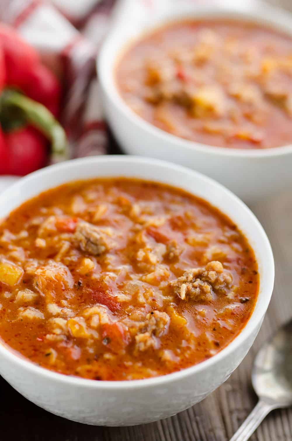 Pressure Cooker Stuffed Pepper Sausage Soup bowl